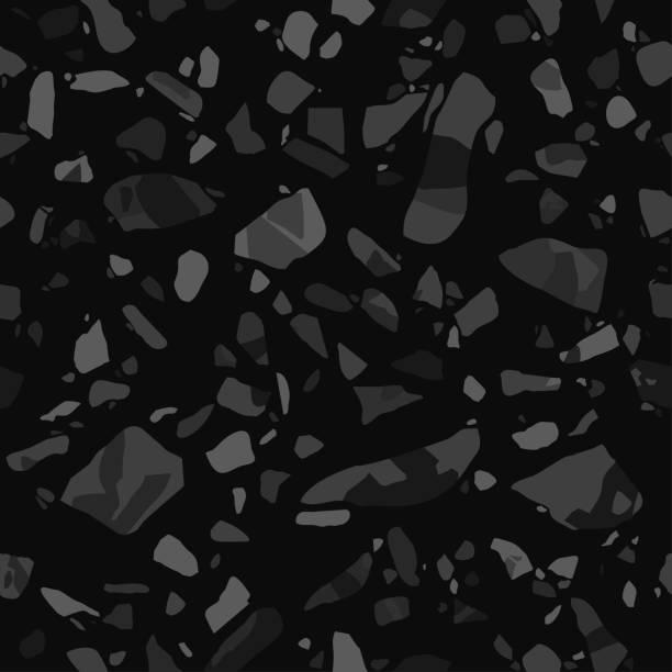 Terrazzo Flooring Vector Seamless Pattern In Black Colors