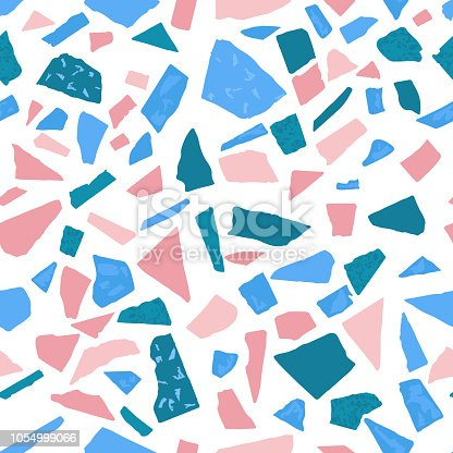 Terrazzo floor marble seamless pattern.Pink,green,blue and white palette.Traditional venetian material.Granite and quartz rocks mixed on polished surface.Vector background for architecture designs