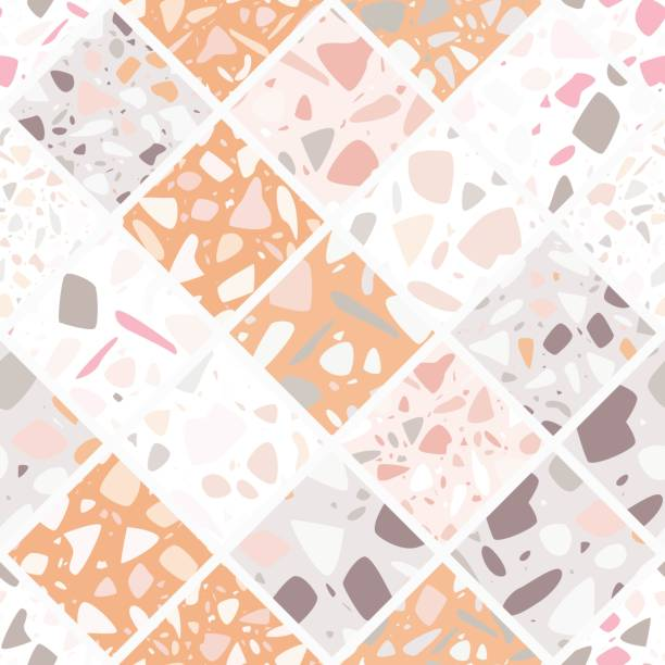Terrazzo seamless pattern design with hand drawn rocks. Abstract modern background, flat vector illustration vector art illustration