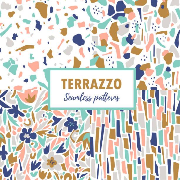 terrazzo seamless pattern. trendige abstrakte wiederholen bühnenbilder. vektor abstrakten hintergrund mit chaotischen flecken. - tapete stock-grafiken, -clipart, -cartoons und -symbole