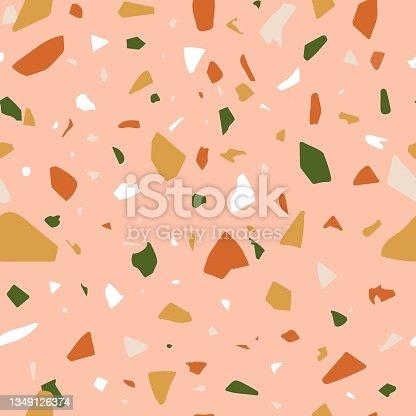 istock Terrazzo seamless vector pattern.  Abstract marble texture. 1349126374