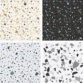 Terrazzo textures. Vector set of seamless terrazzo patterns. Venetian stone floor background for interior design