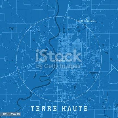 istock Terre Haute IN City Vector Road Map Blue Text 1319024715
