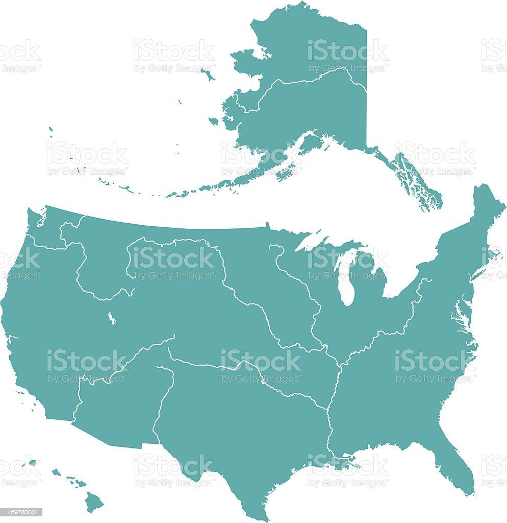 Terrestrial map of USA vector art illustration
