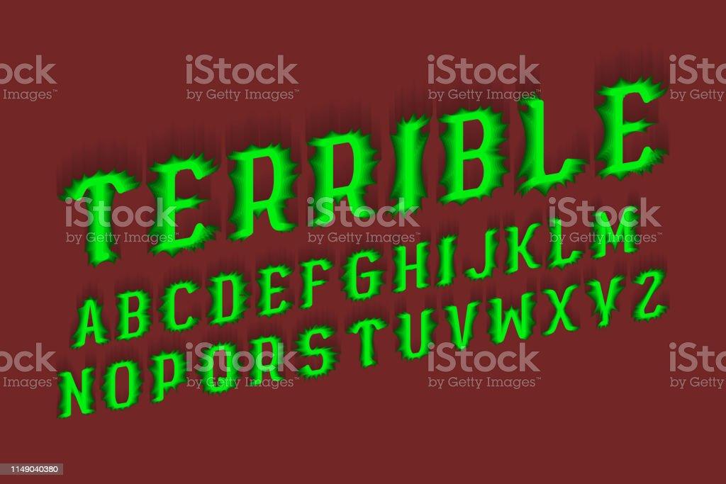 Terrible alphabet. Halloween stylized 3d font. Isolated English...