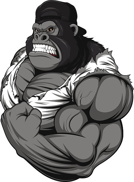 ひどい gorilla アスリート ベクターアートイラスト