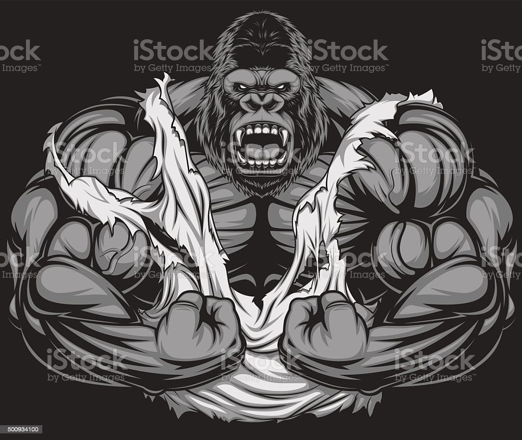 Terrible gorilla athlete vector art illustration