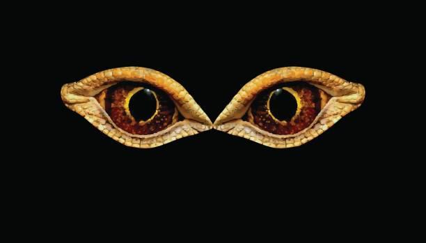 terrible horrible eyes fantastic animal or bird. eyes dinosaur or snakes - dragon eye stock illustrations, clip art, cartoons, & icons