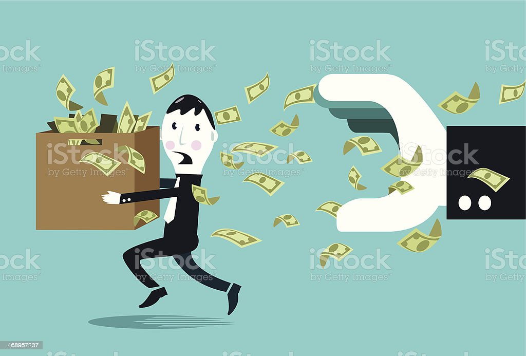 Terrified businessman hiding money from a big businessman hand. vector art illustration