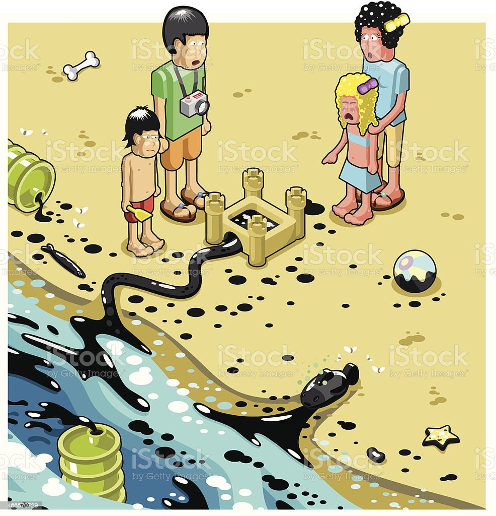 Terrified Family Of Four On Dirty Oil Polluted Beach Royalty Free Stock Vector Art