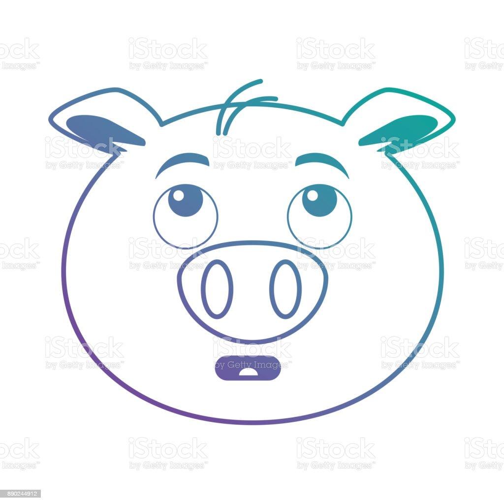 terrified pig emoji kawaii vector art illustration
