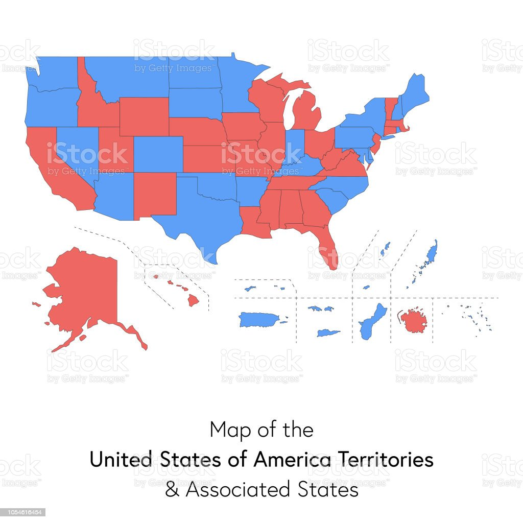 Usa Territories And Associated States Map Stock Vector Art & More ...