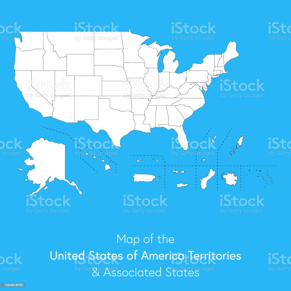 Guam And Hawaii Map.Usa Territories And Associated States Map Stock Vector Art More
