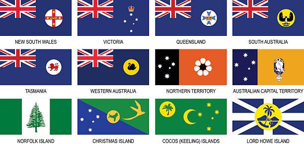 territories flags of australia icon set - western australia stock illustrations