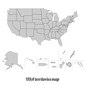 Vector illustration of the USA territories map