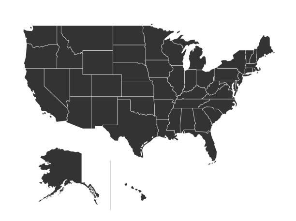 미국 영토 지도 - 미국 stock illustrations