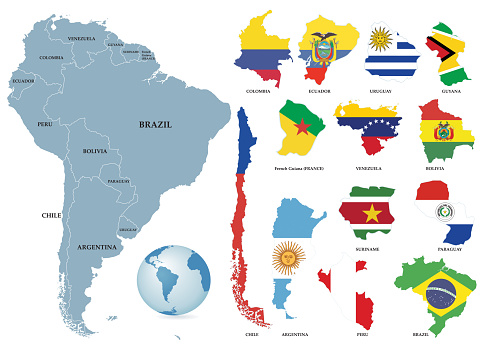 Territories of countries on South America continent. Separate countries with flags.