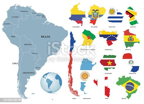 istock Territories of countries on South America continent. Separate countries with flags. 1015315018