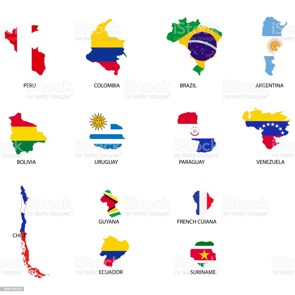 Territories Of Countries On South America Continent Separate