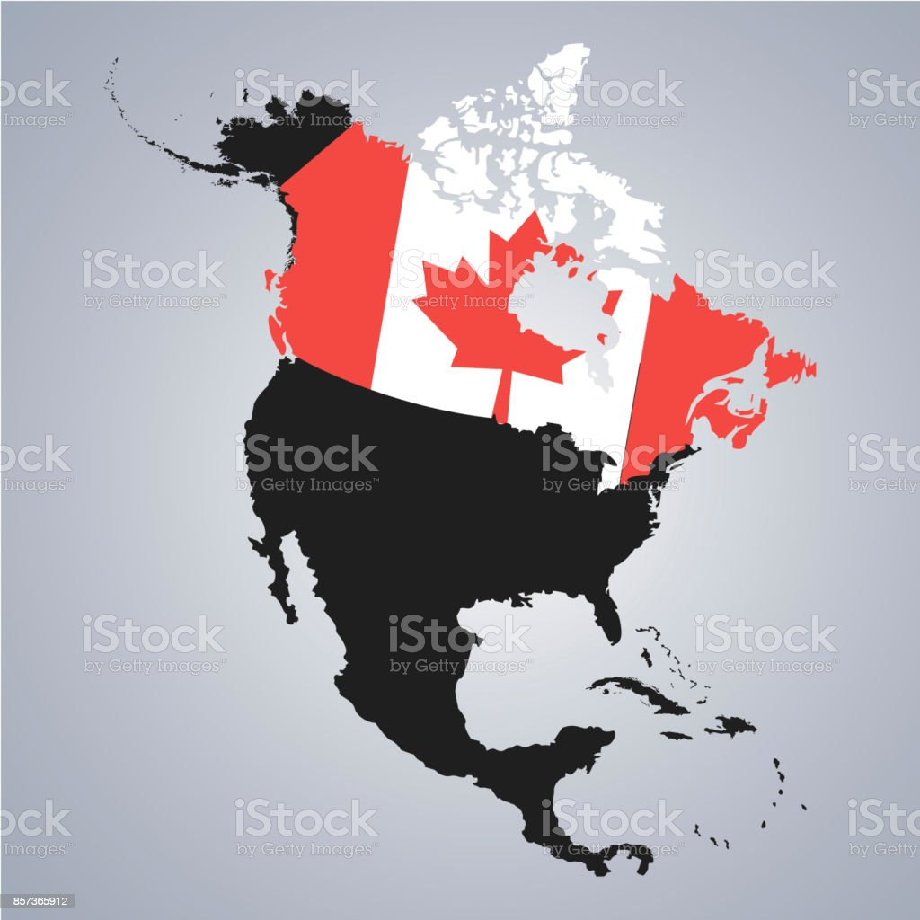 Territory And Flag Of Canada On North America Continent Map On The ...