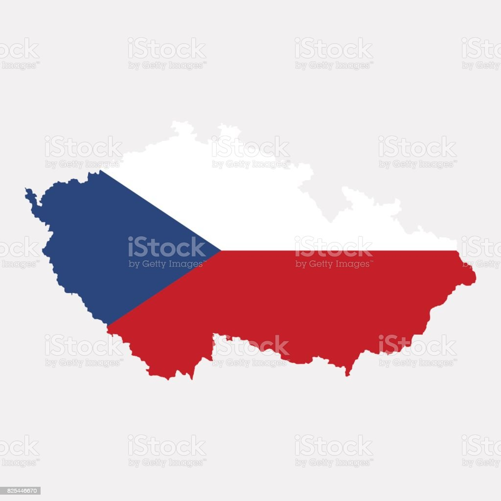Territory and flag of Czech Republic vector art illustration