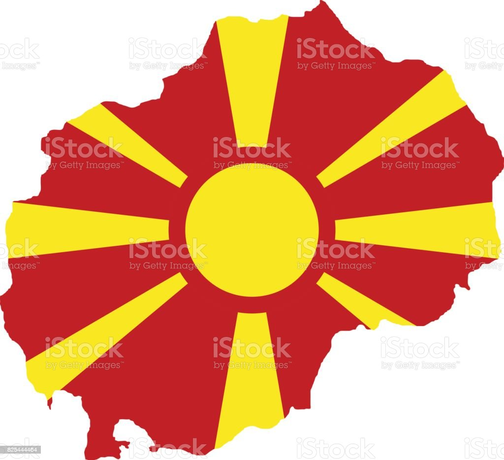 Territory and flag of Macedonia vector art illustration