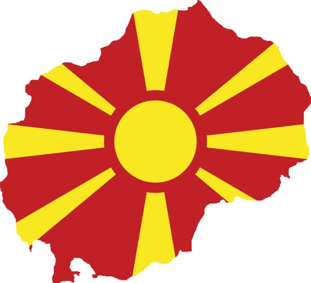 territory and flag of macedonia - macedonia country stock illustrations, clip art, cartoons, & icons