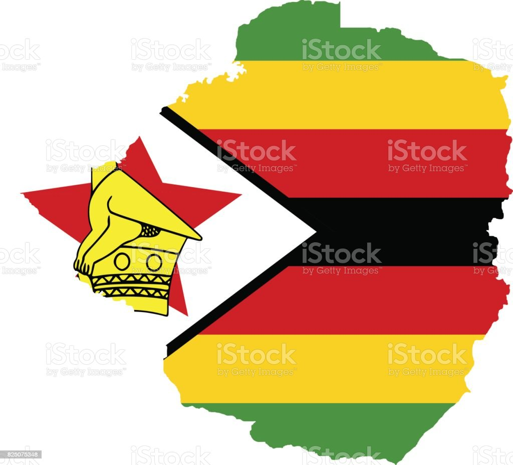 Territory and flag of Zimbabwe vector art illustration