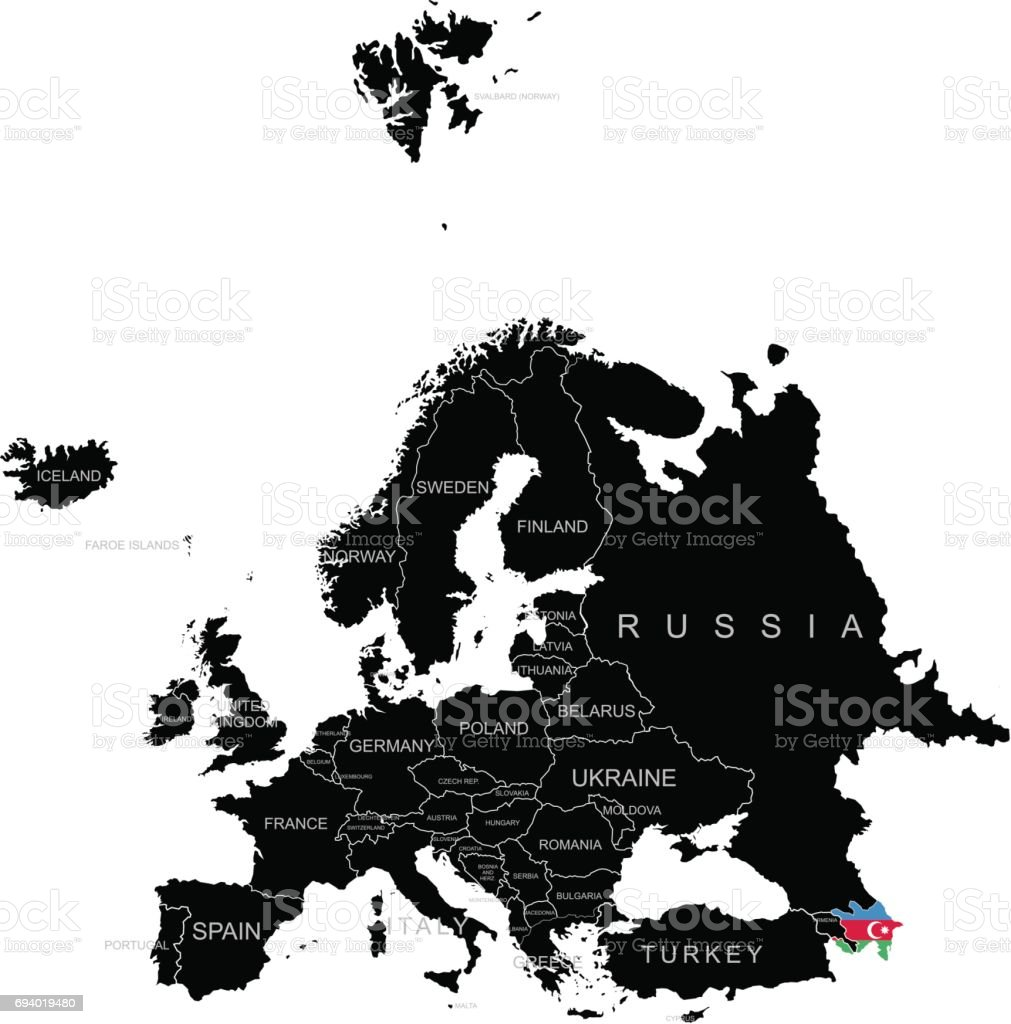 Territory of Azerbaijan on Europe map on a white background vector art illustration