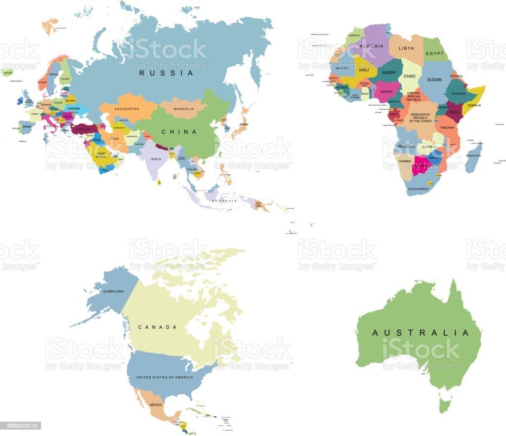 Territory Of Continents Europe Usa Canada Africa Eurasia Australia