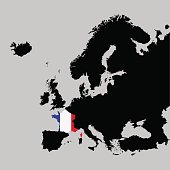 Territory of France on Europe map on a grey background