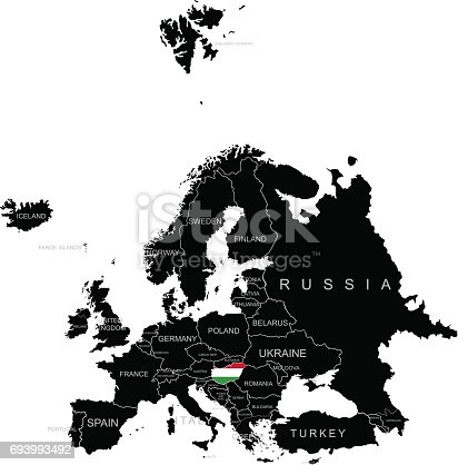 territory of hungary on europe map on a white background stock vector art 693993492 istock