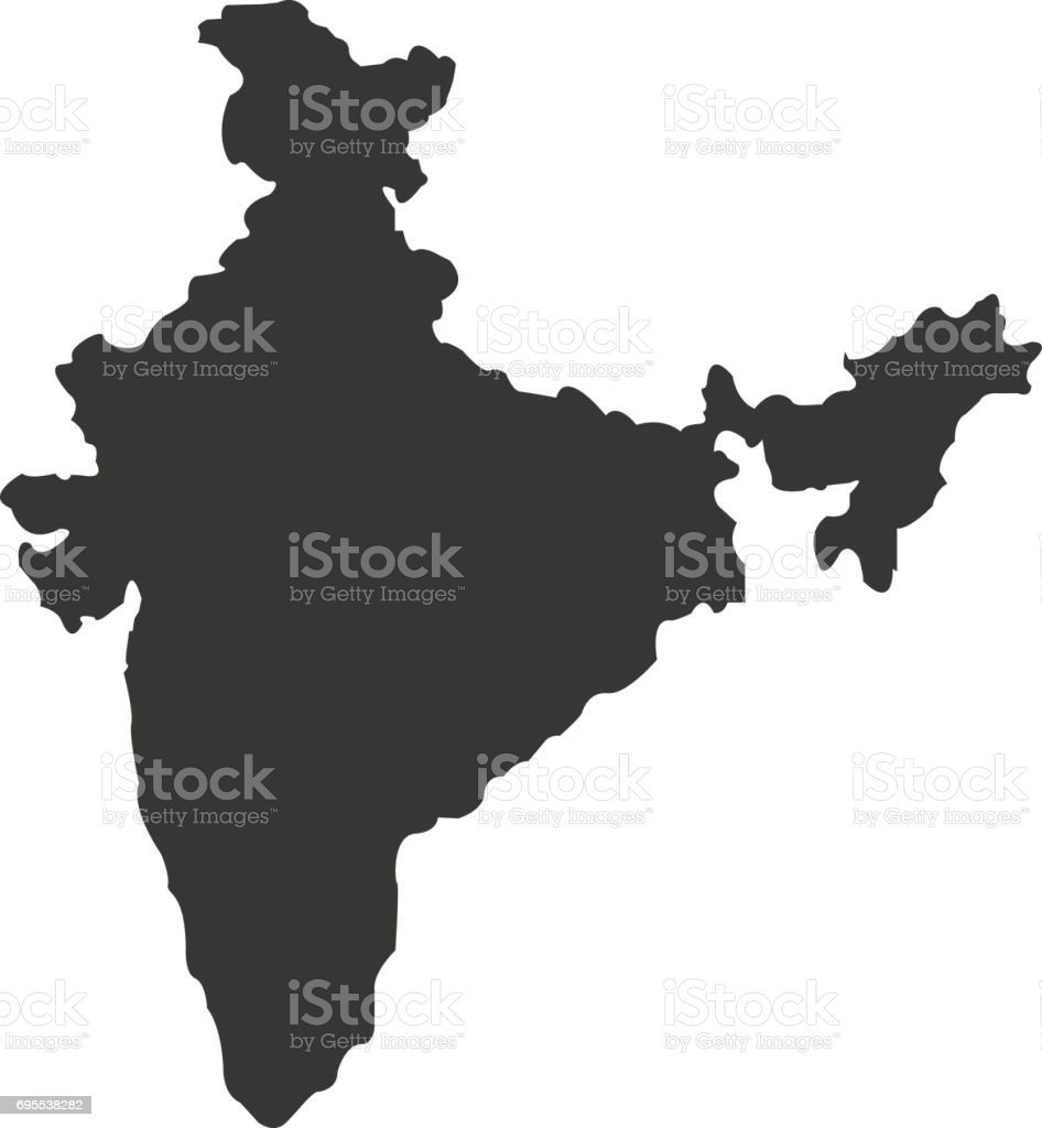 Territory of India on a white background vector art illustration