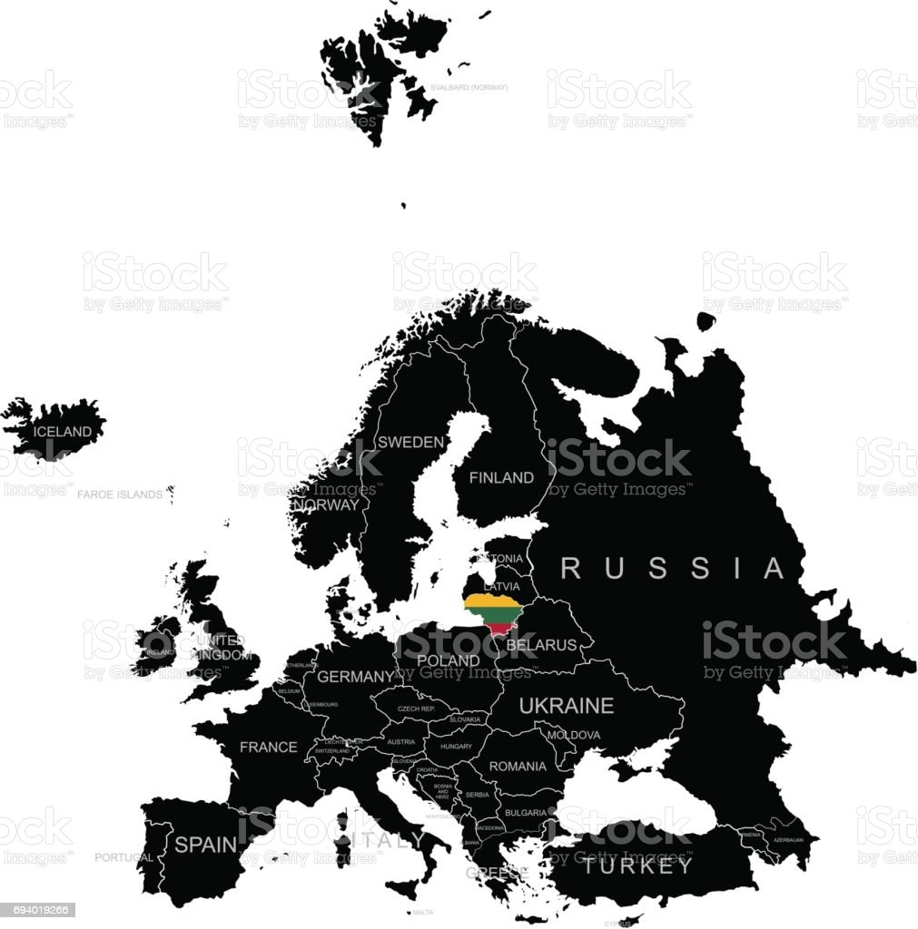 Lithuania On Europe Map.Territory Of Lithuania On Europe Map On A White Background Stock