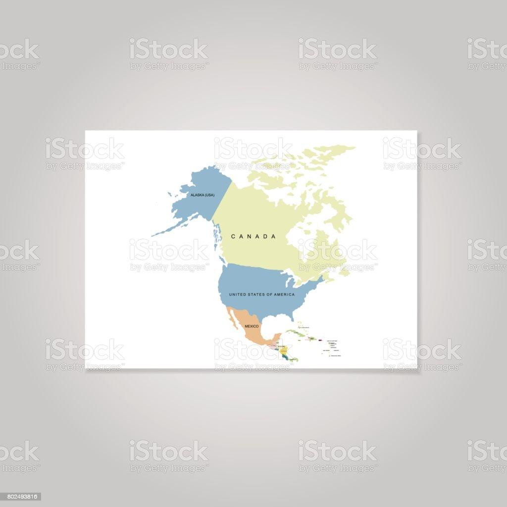 Territory Of North America Canada Alaska Mexico Vector Illustration ...
