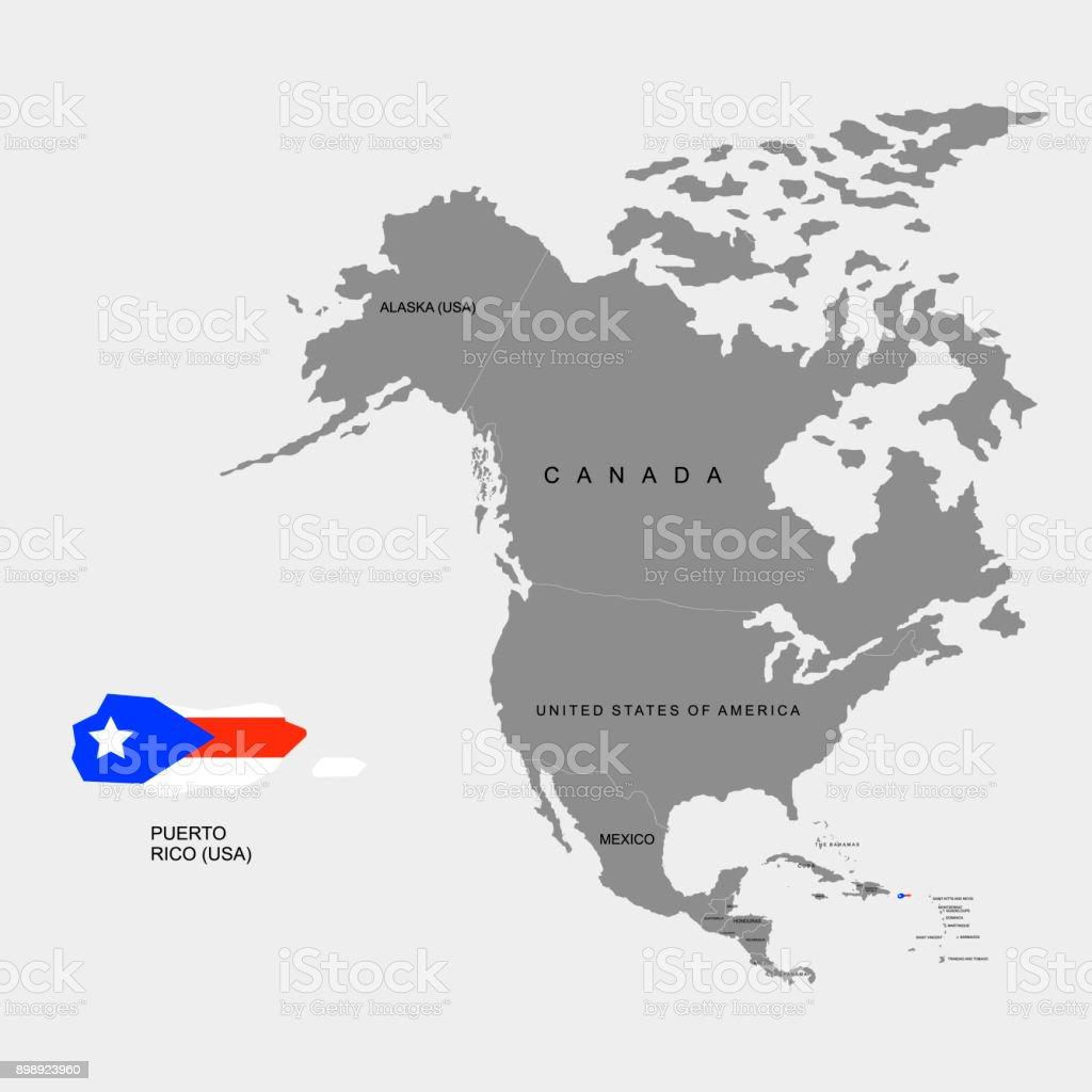 Gebiet Von Puerto Rico Auf Nordamerika Kontinent Flagge Von ...