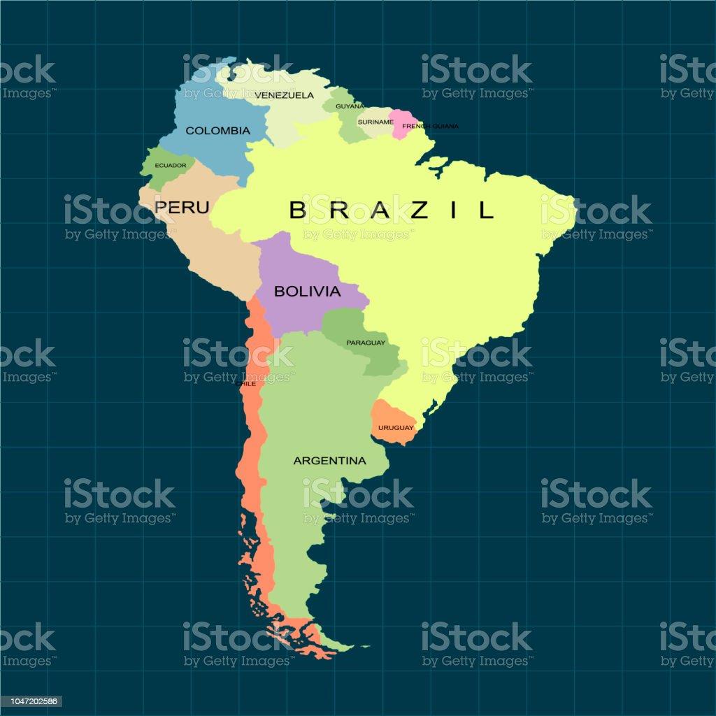 Territorio de América del sur continente. Fondo oscuro. Ilustración de vector - ilustración de arte vectorial