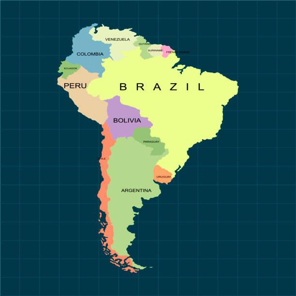 Territory of South America continent. Dark background. Vector illustration vector art illustration