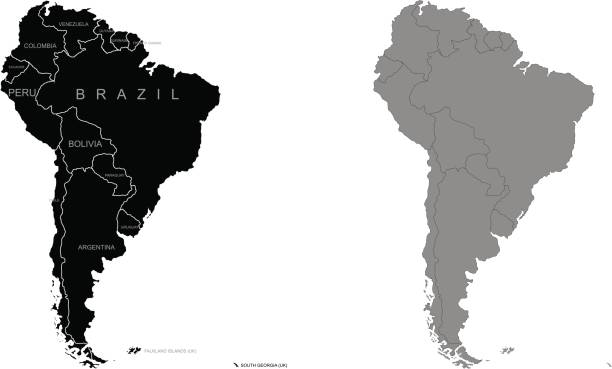 territory of south america. vector illustration - south america maps stock illustrations