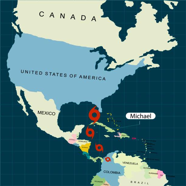 ilustraciones, imágenes clip art, dibujos animados e iconos de stock de territorio de estados unidos de américa. florida. huracán - la tormenta michael. daños de huracán. ilustración de vector - hurricane
