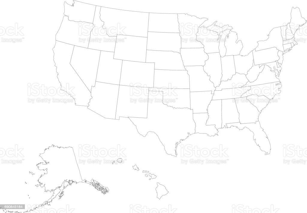 Territoire des États-Unis d'Amérique avec contour - Illustration vectorielle