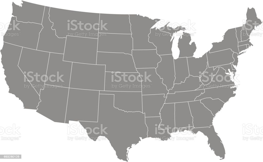 Territory of United States of America with contour vector art illustration