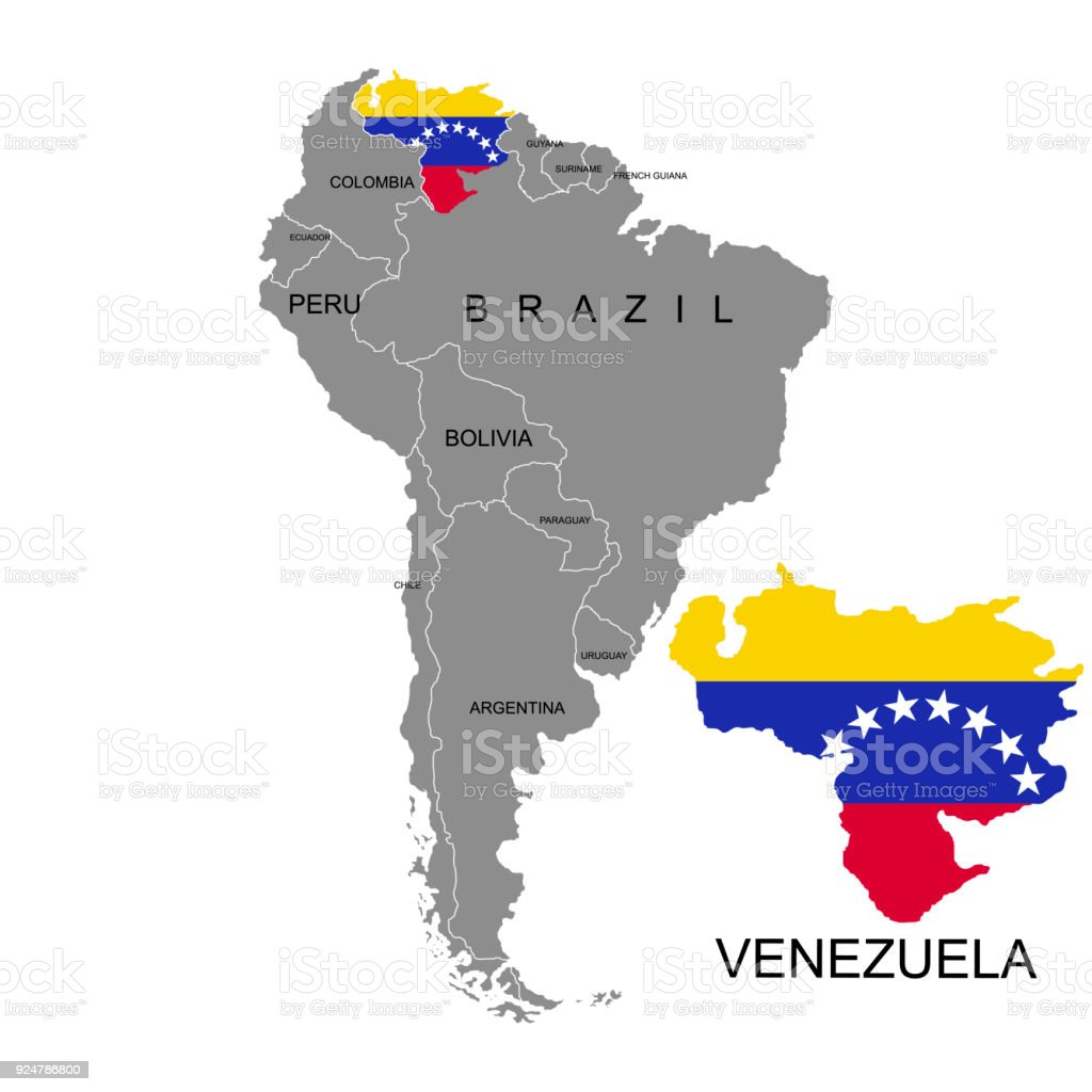 Territory Of Venezuela On South America Continent White Background