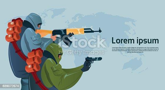 istock Terrorism Armed Terrorist Black Mask Hold Weapon Machine Gun Planning 639072674