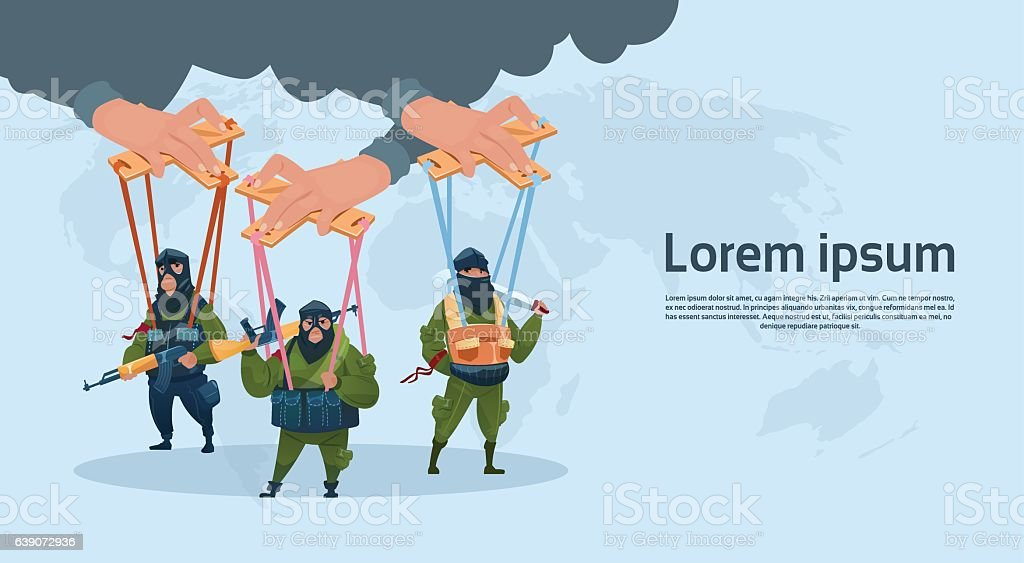 Terrorism Armed Terrorist Black Mask Hold Weapon Machine Gun Planning vector art illustration