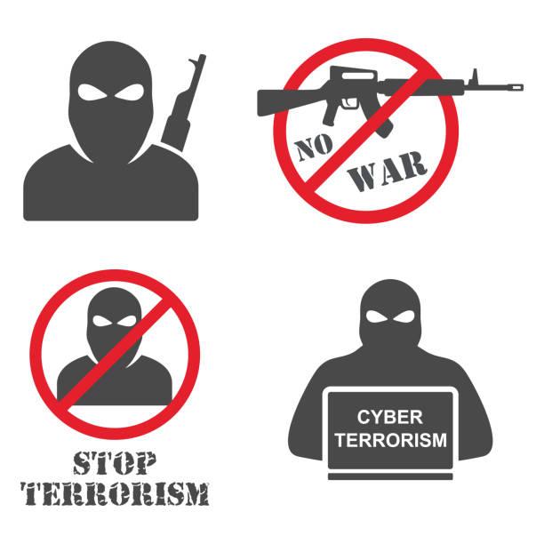 Terrorism Armed Terrorist Black Mask Hold Weapon Machine Gun Terrorism Armed Terrorist Black Mask Hold Weapon Machine Gun terrorism stock illustrations