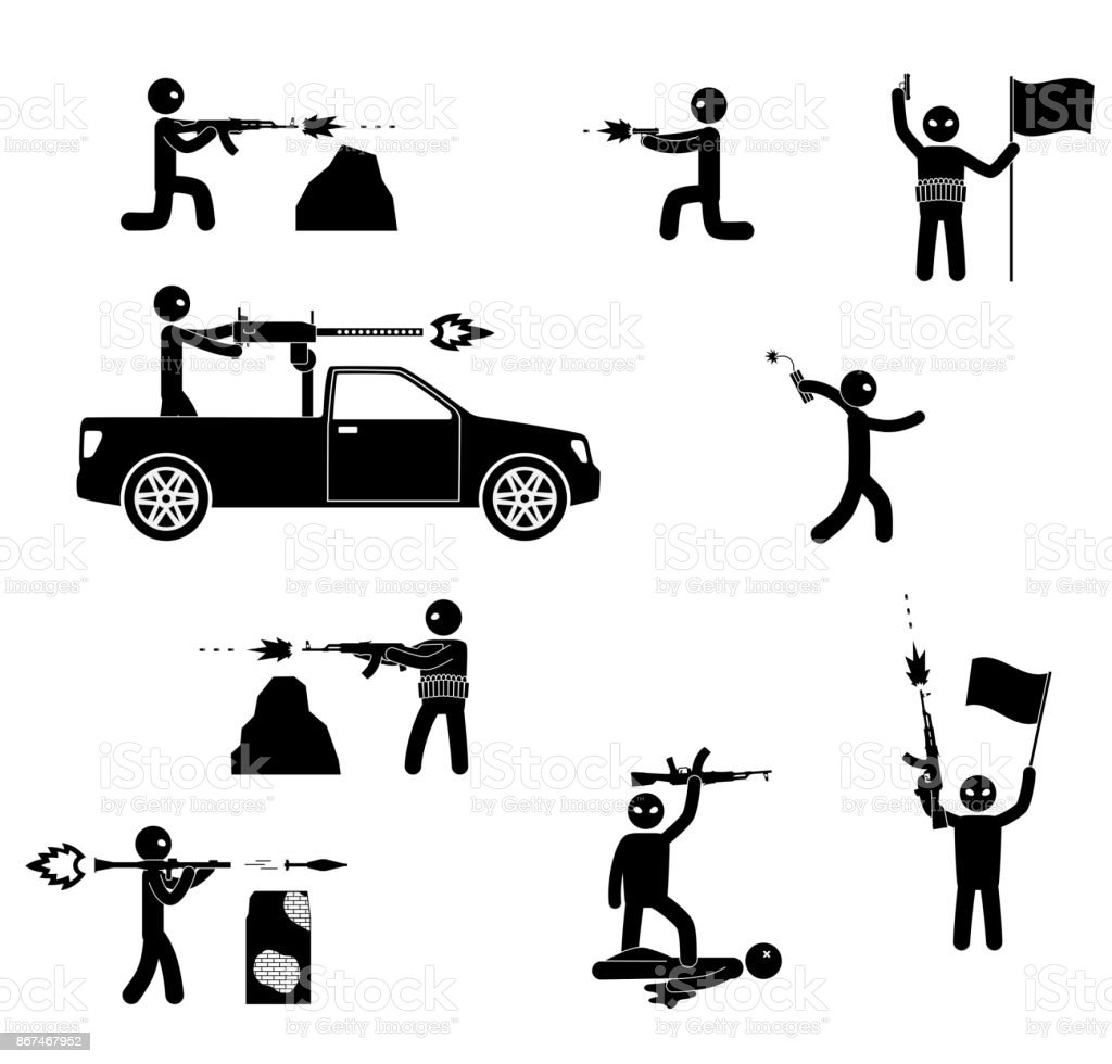 Terrorism concept. Set of terrorist people. World threat. vector art illustration