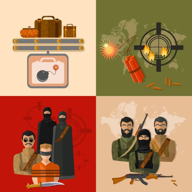 Terrorism concept taking hostages global threat world terror vector art illustration