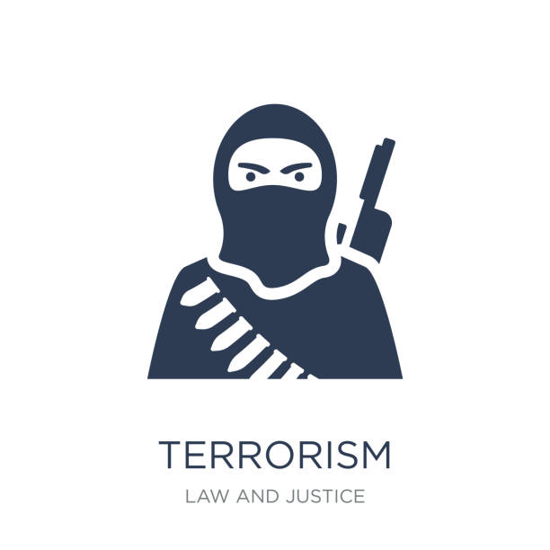 terrorism icon. Trendy flat vector terrorism icon on white background from law and justice collection terrorism icon. Trendy flat vector terrorism icon on white background from law and justice collection, vector illustration can be use for web and mobile, eps10 terrorism stock illustrations