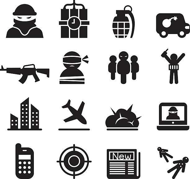 terrorism icons set terrorism icons set terrorism stock illustrations